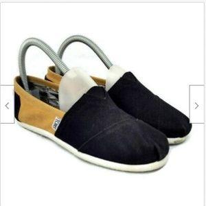 Toms black gold alpargatas slip on canvas shoes